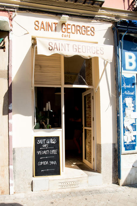 The entrance to Saint Georges Café in Madrid.