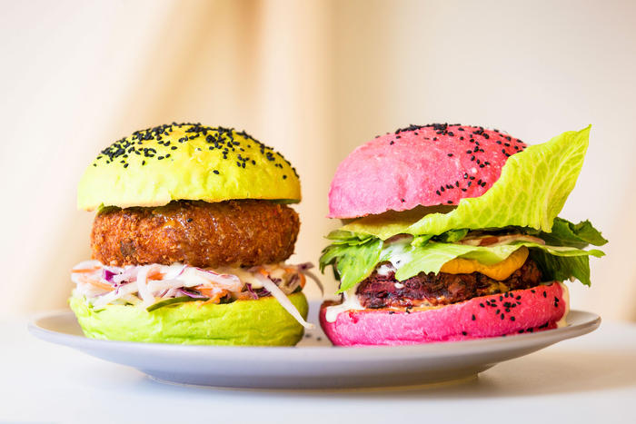 Meat-free burgers at Veg Bar in Hobart.