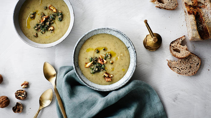 Packham pear, parsnip and potato soup with walnuts