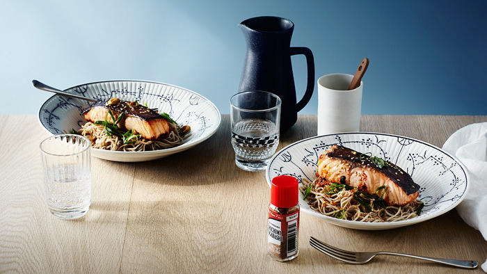 Miso-grilled salmon with soba noodles