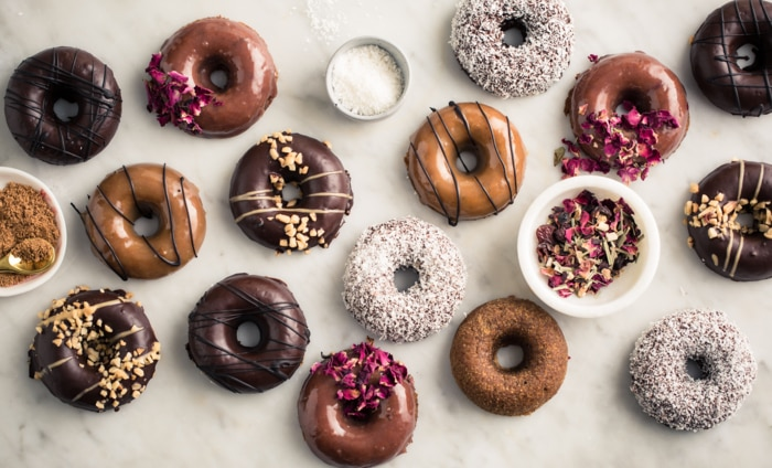 There's snickers (covered with nuts), lamington (topped with coconut), cinnamon, raspberry and salted caramel gluten-free treats to choose from.