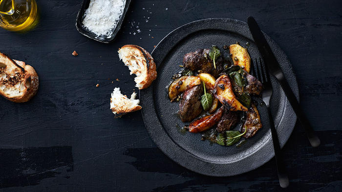 Seared chicken livers, sage and Golden Delicious