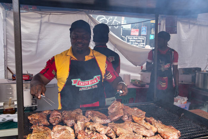 Leo Chofor at work on the grill.