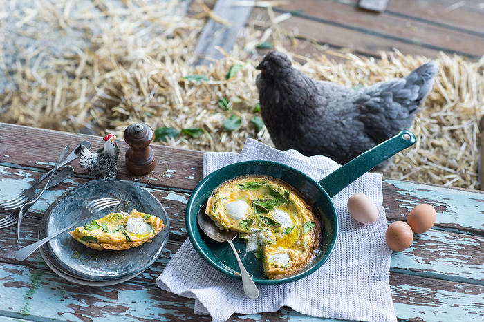 Turnip top and goat's cheese frittata
