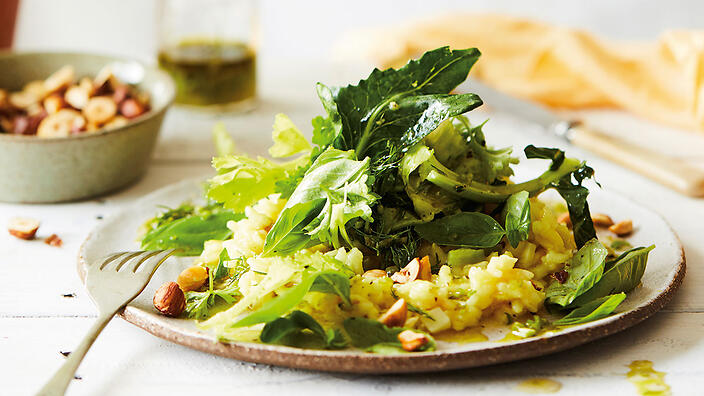 Stem leaves risotto