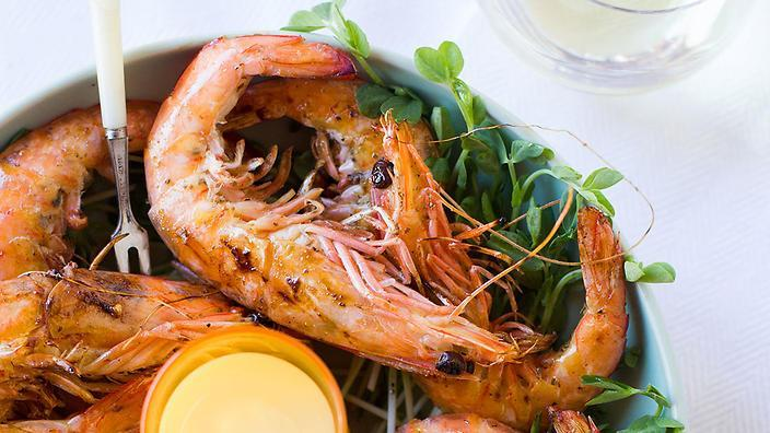 Grilled prawns with lemon myrtle and vanilla hollandaise (Martyna Angell)