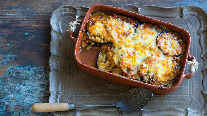 Baked eggplant with haloumi and kasseri pseftomousakas recipe baked eggplant with haloumi and kasseri pseftomousakas recipe sbs food forumfinder Image collections