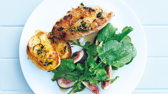 Chicken with haloumi and honey