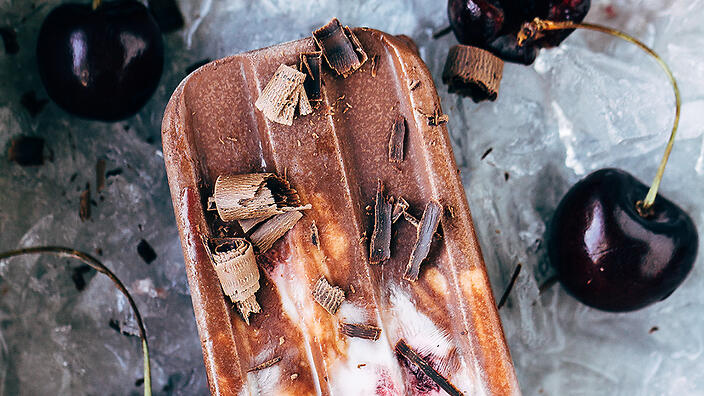 Dairy-free Black Forest popsicles