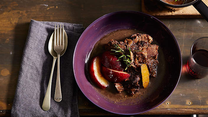 Braised beef cheeks with plums