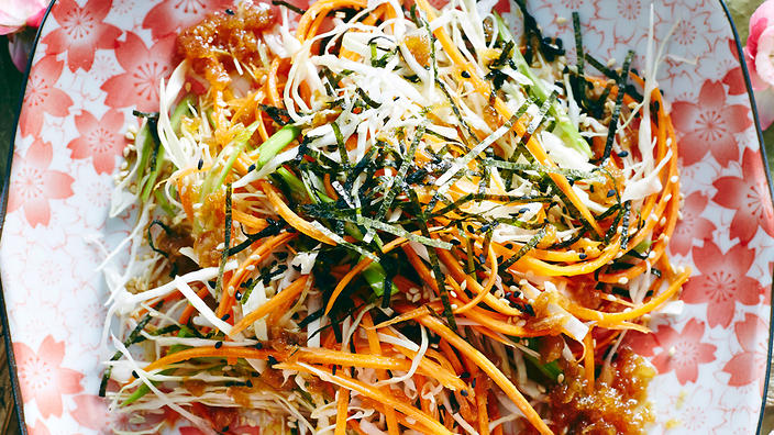 Cabbage Salad With Wafu Dressing Recipe Sbs Food