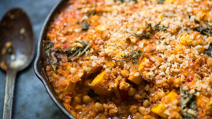 Chickpea, pumpkin and cavalo nero cassoulet