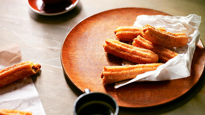 Brazilian doughnuts (churros with doce de leite)