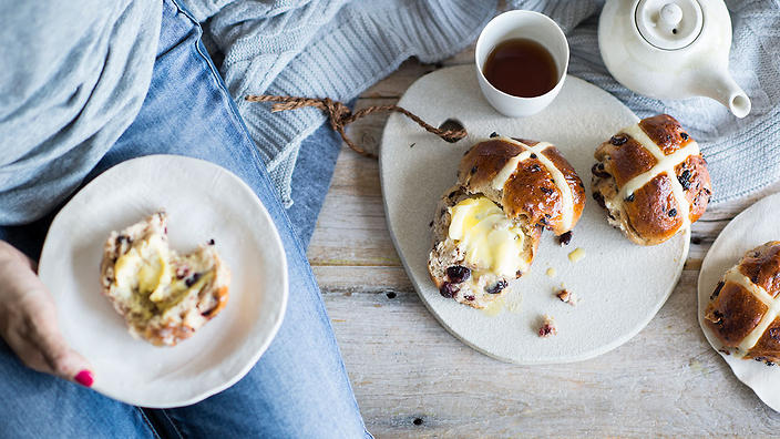 Dried cherry and chocolate hot cross buns
