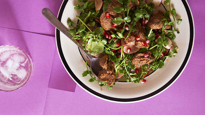 Spiced crisp chicken livers and pomegranate salad recipe : SBS Food