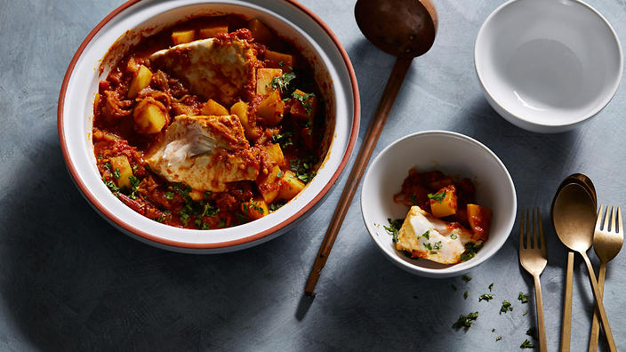 Indian spiced fish and potato curry