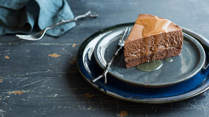 Chocolate, pear and rum mousse cake recipe : SBS Food