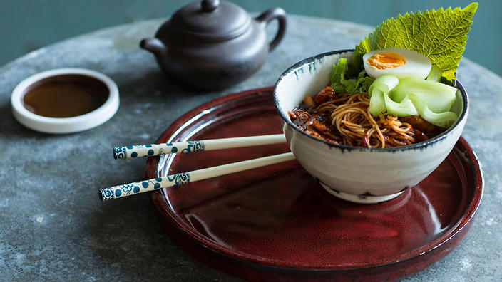 Spicy Korean noodles with cucumber and egg