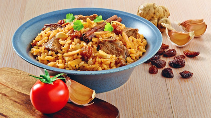 Moroccan lamb rice with almonds recipe : SBS Food