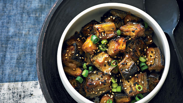 Miso-roasted eggplant