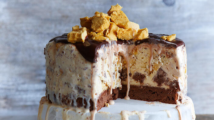Brownie Bottom Ice Cream Cake Honeycomb Ice-cream Cake