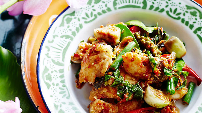 Stir-fried fish with chilli, ginger and eggplants
