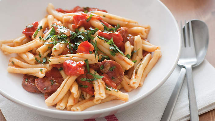 Pasta With Cherry Tomatoes Spicy Salami And Basil