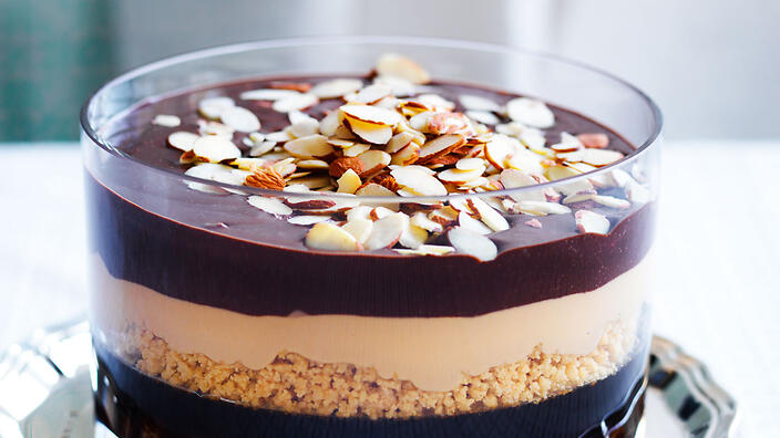 Pedro Ximenez jelly with chocolate and caramel layers