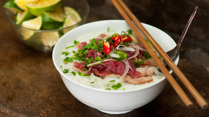 Beef noodle soup with rice noodles (pho bo) recipe : SBS Food
