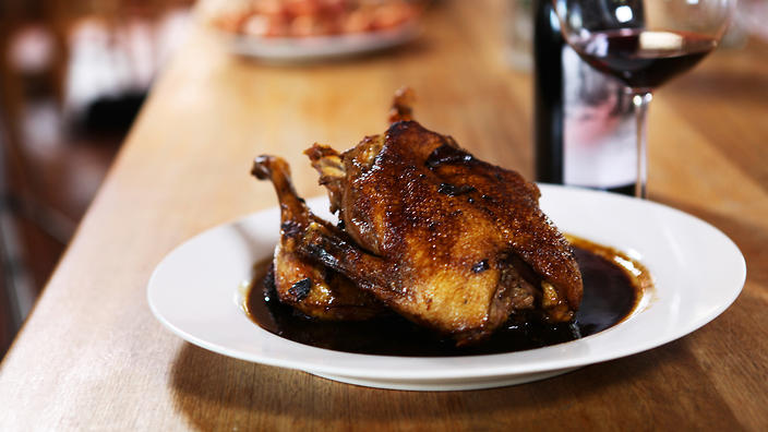Roast duck with mulberry molasses and pinot noir
