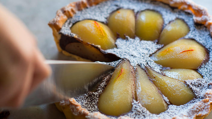 Pear and choc tart