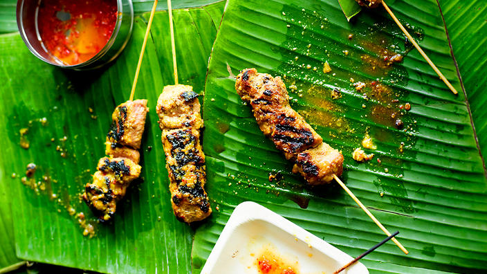 Pork satay with chilli dipping sauce