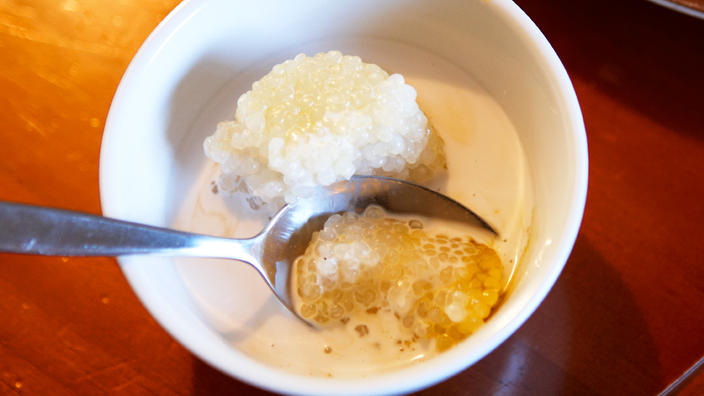 Chilled sago with palm sugar syrup (sago gula Melaka)