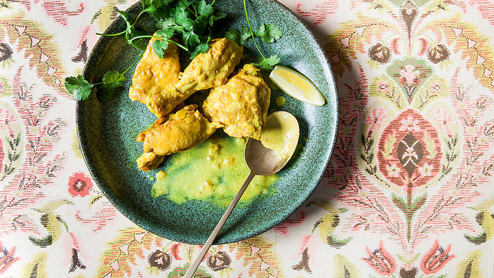 Afghan Braised Chicken With Yoghurt And Turmeric Lawang Curry