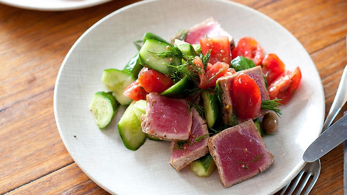 Albacore tuna, tomato and cucumber salad with dill and olives