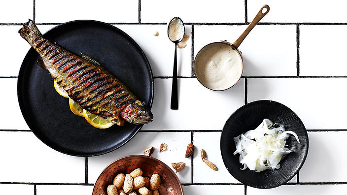 Chargrilled river trout with almond and aniseed sauce
