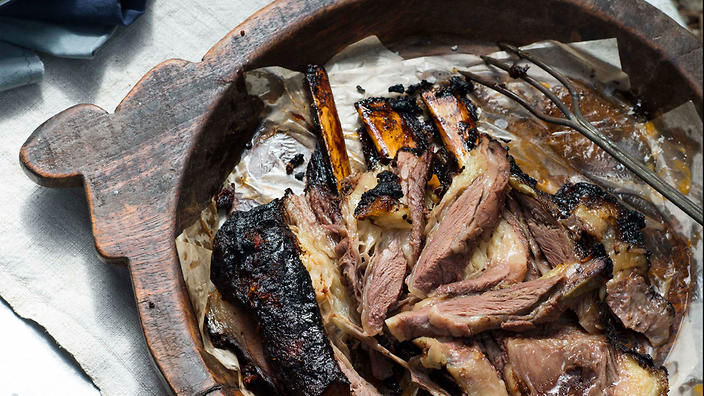 American-style barbecue sauce and brisket