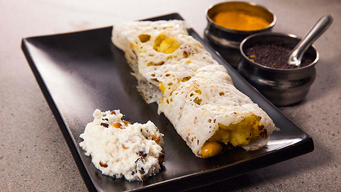 Dosa with coconut chutney indian recipe sbs food easy masala dosa with coconut chutney forumfinder Choice Image
