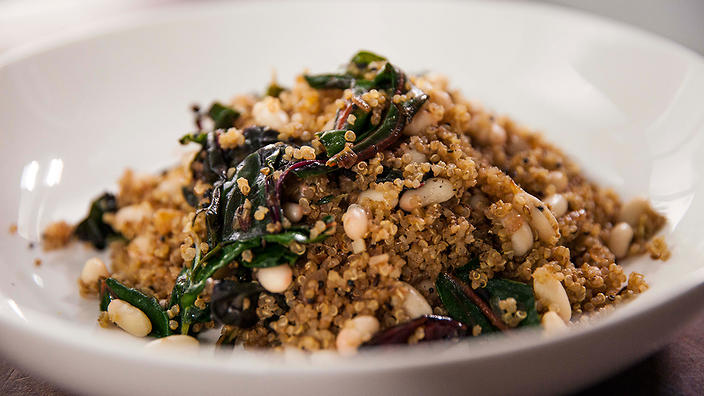 Cannellini bean, ruby chard and quinoa pilaf