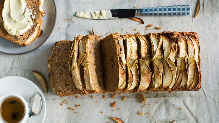 Apple bread with whipped honey butter
