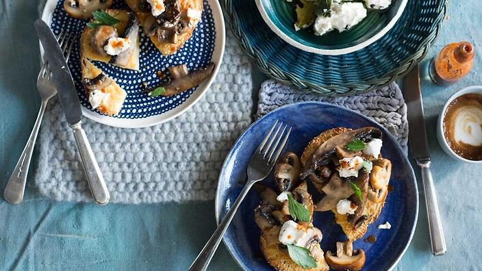 Baked herbed French toast with garlic mushrooms