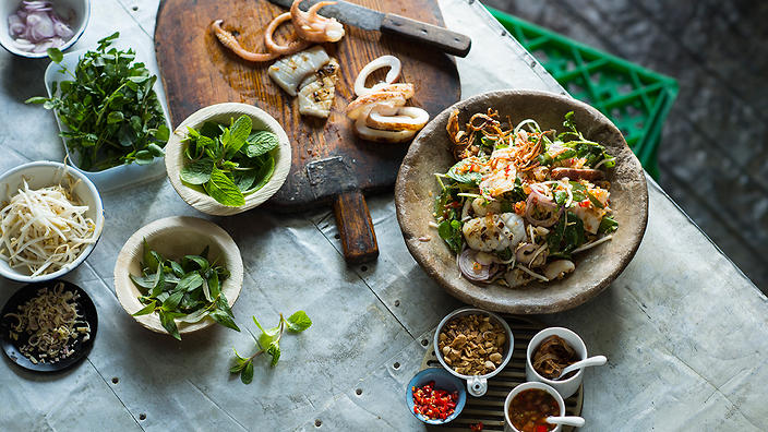 Chargrilled squid salad