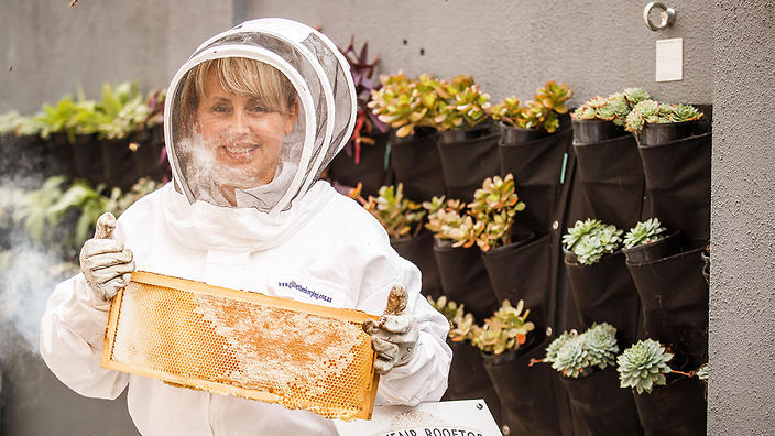 Bethany Finn with Mayfair bees