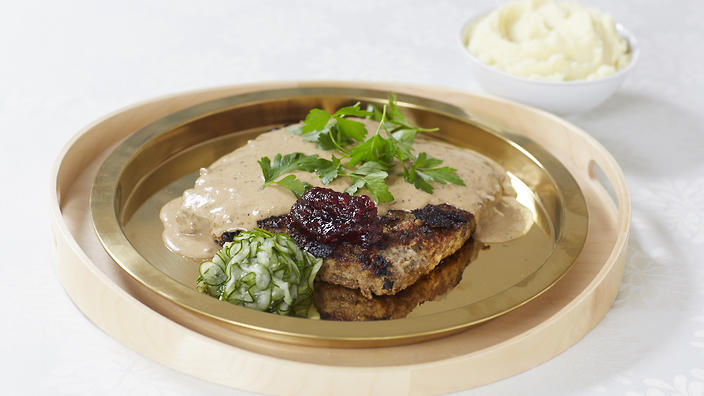 Swedish meatloaf with cream sauce