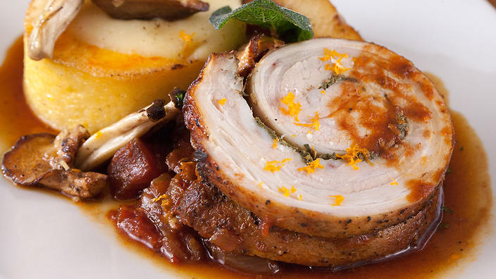 Tomato braised veal roulade