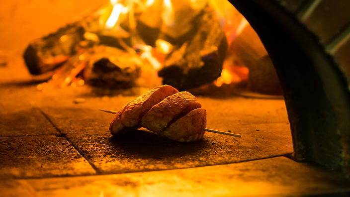 The Urnebes village crust is made in the wood-fired oven with three cheeses and ajvar, a pepper-based condiment.