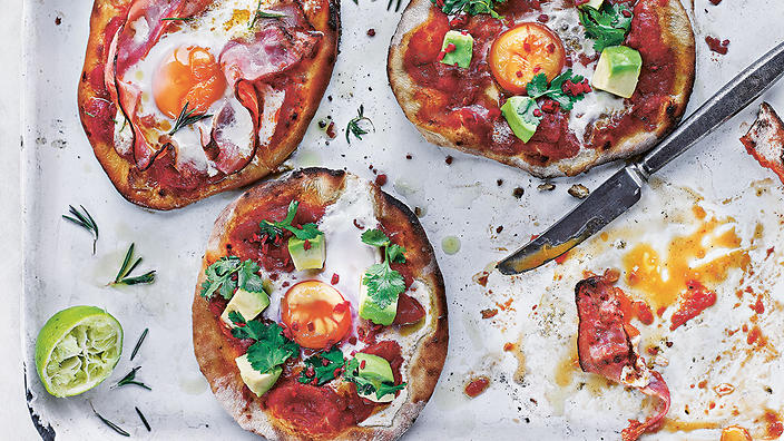 Brunch pizzette, from Fire and Smoke: Get Grilling with 120 Delicious Barbecue Recipes by Rich Harris, published by Kyle Books