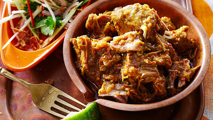 Spiced pork with green mango burmese recipes sbs food forumfinder Images