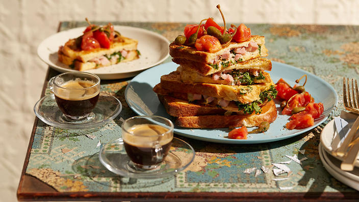 Bourbon French toast with ham and butter-braised tomato