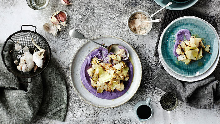 Red cabbage cream with charred green cabbage